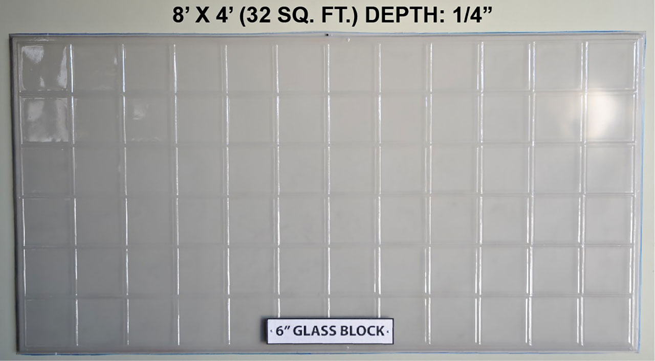 "Vacuform 6"" Glass Block Skin by Global Entertainment Industries, Burbank, CA"